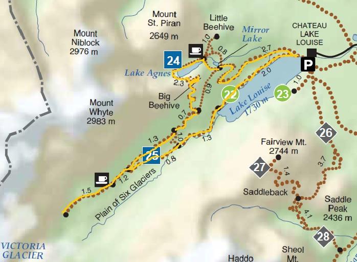 La ruta que fem, marcada amb groc, és perfecte per descobrir tot l'entorn del Lake Louise.