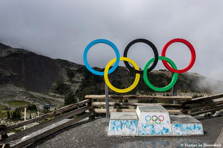 Al final del telefèric, a la muntanya Whistler, hi ha un podi de les Olímpiades. El símbol recorda les Olímpiades d'Hivern que es van celebrar allà el 2010.