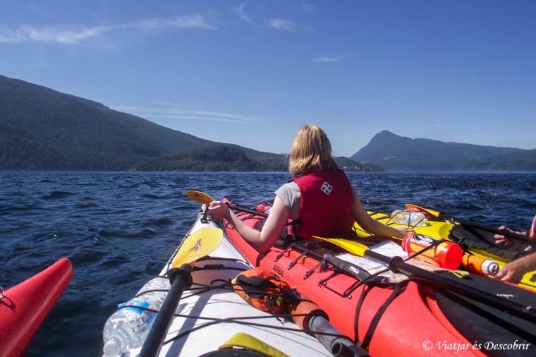 Quan veiem les orques, unim tots els kayaks per seguretat. Aleshores, a causa d'alguna esquitxada la càmera em deixa d'anar. Així que no tenim cap foto de les killer whales...