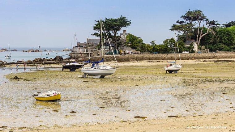 la platja de Brignogan-Plage sense marea