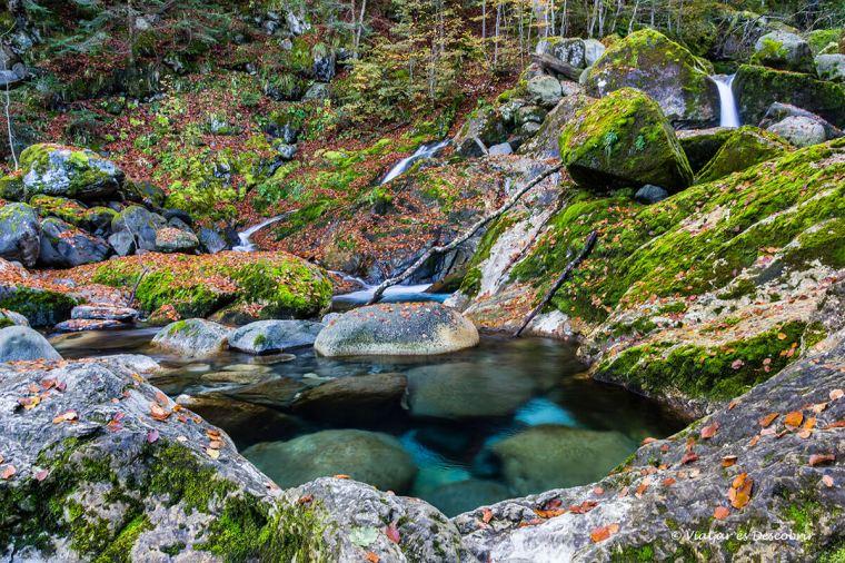 aigua i fulles de tardor a la vall d'aran
