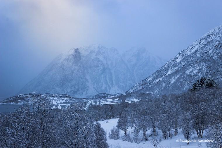 paisaje nevado en las islas lofoten cerca del parque moysalen